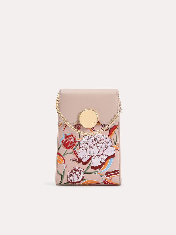 Floral Bouquet Leather Phone Pouch, Multi, hi-res