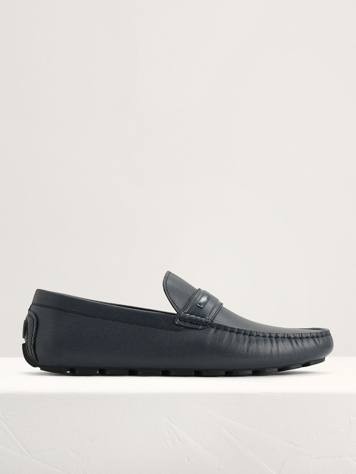 Embossed Leather Moccasins, Navy, hi-res