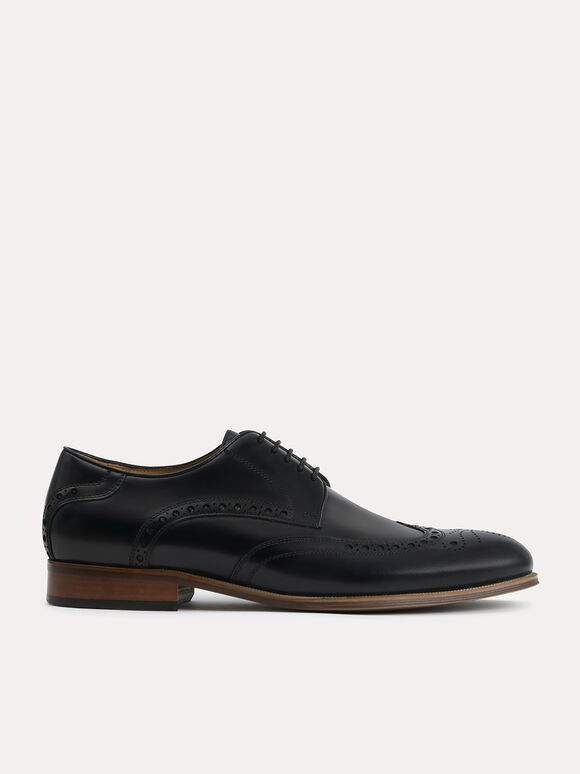 Leather Brogues, Black, hi-res