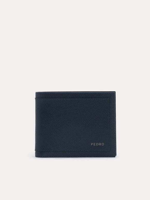 Textured Leather Bi-Fold Wallet with Insert, Navy, hi-res