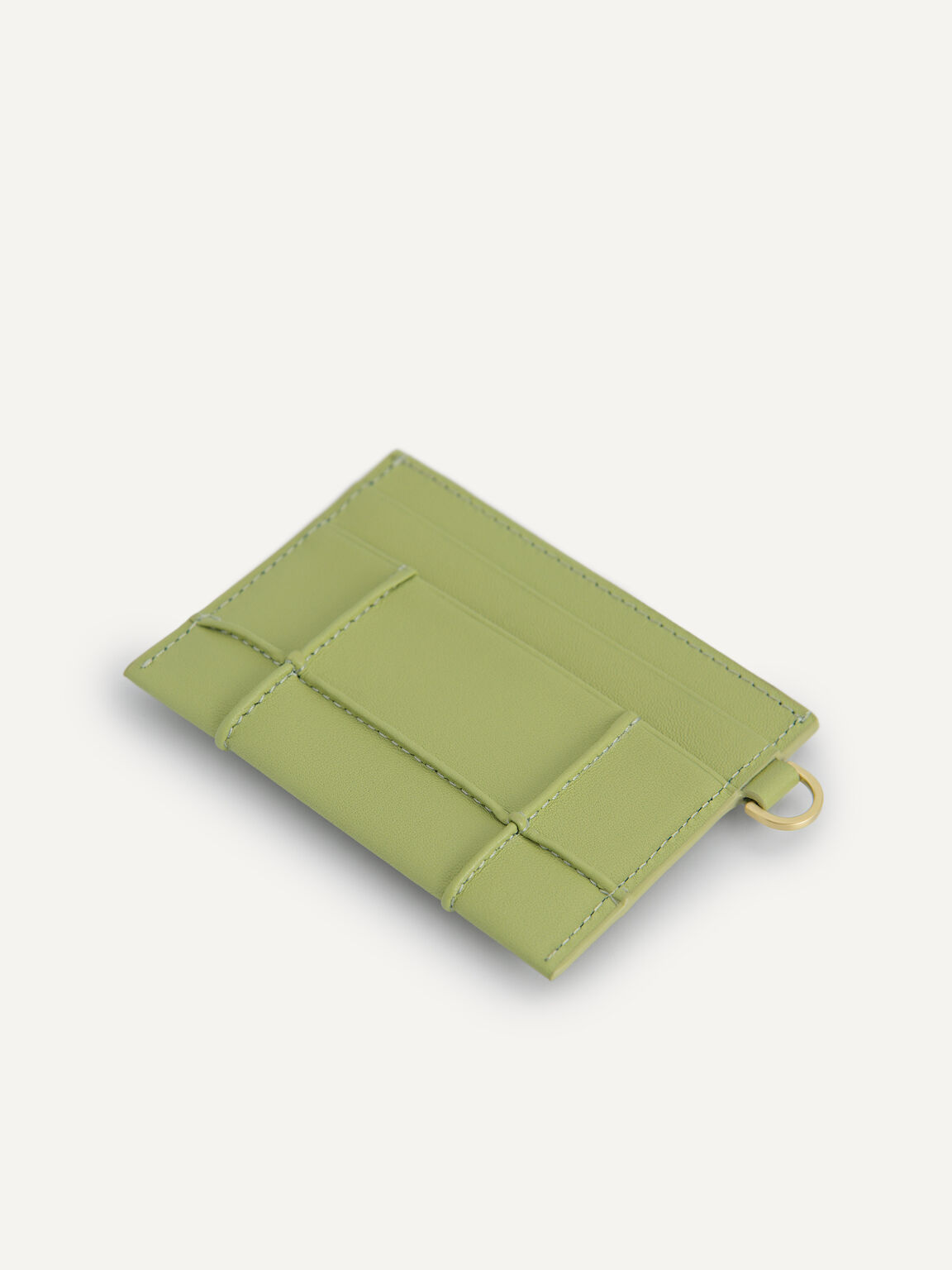 Leather Card Holder, Olive, hi-res