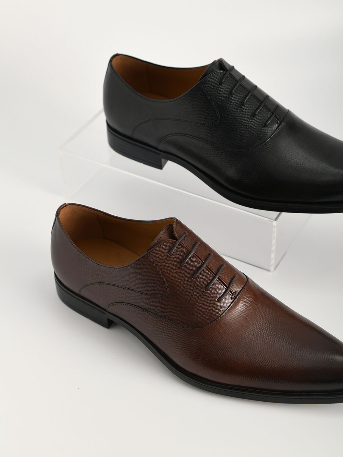 Textured Leather Oxfords, Black, hi-res