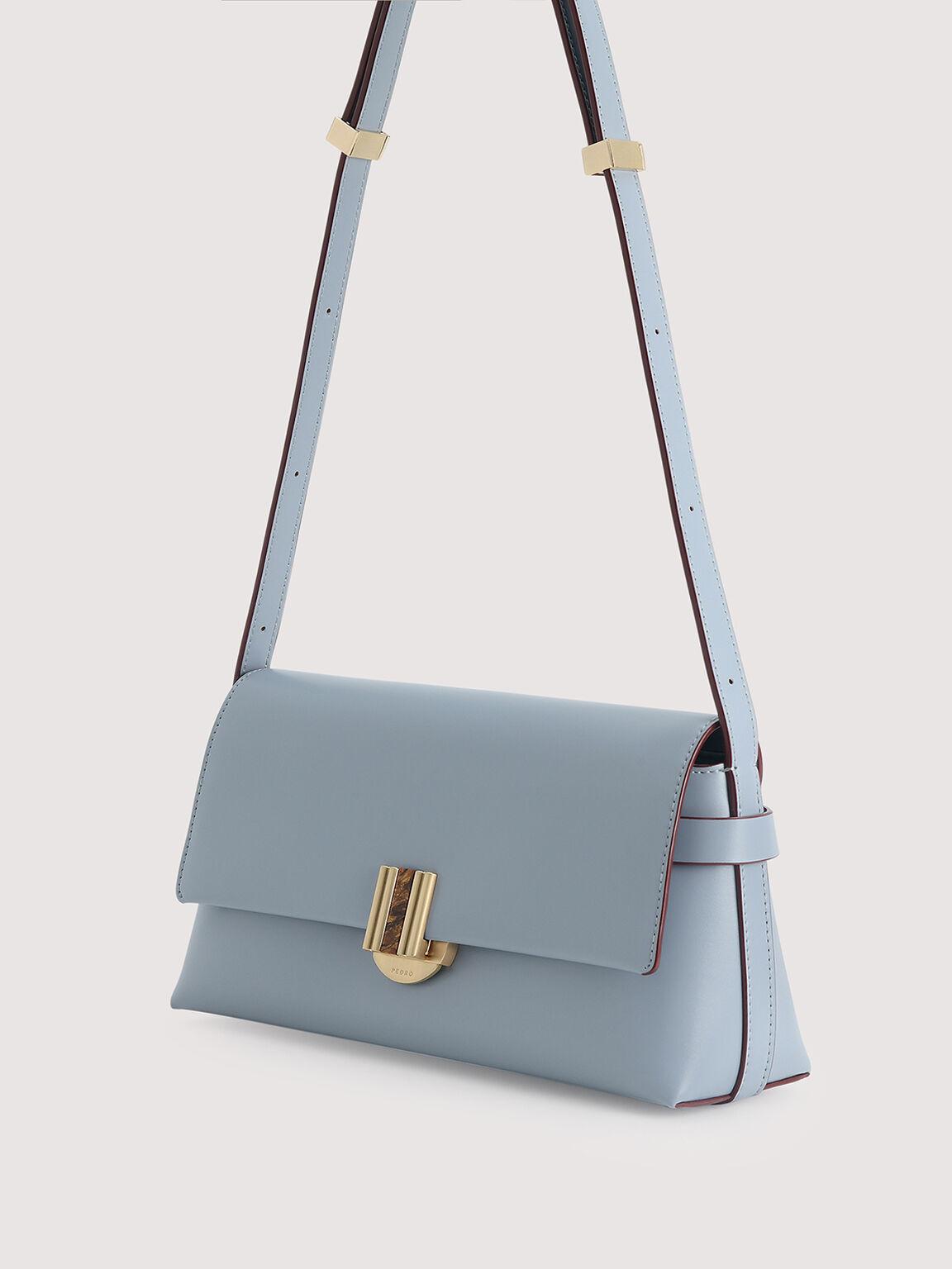 Shoulder Bag With Precious Stone Closure, Slate Blue, hi-res