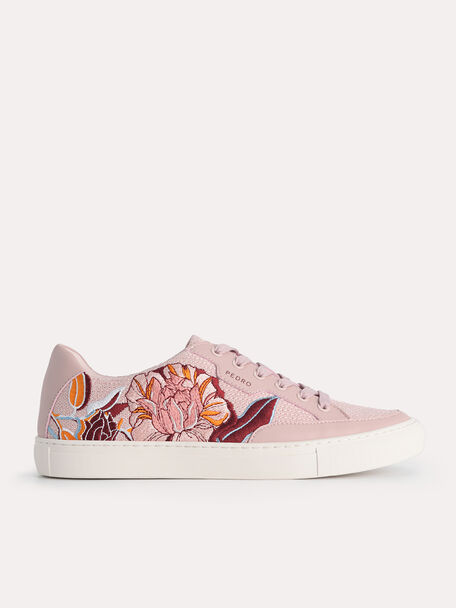 Floral Bouquet Court Sneakers, Light Pink, hi-res