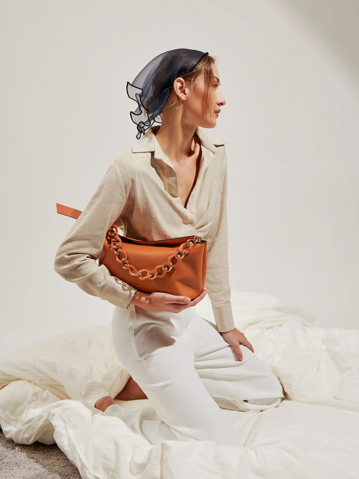 Leather Hobo Top Handle Bag, Cognac, hi-res