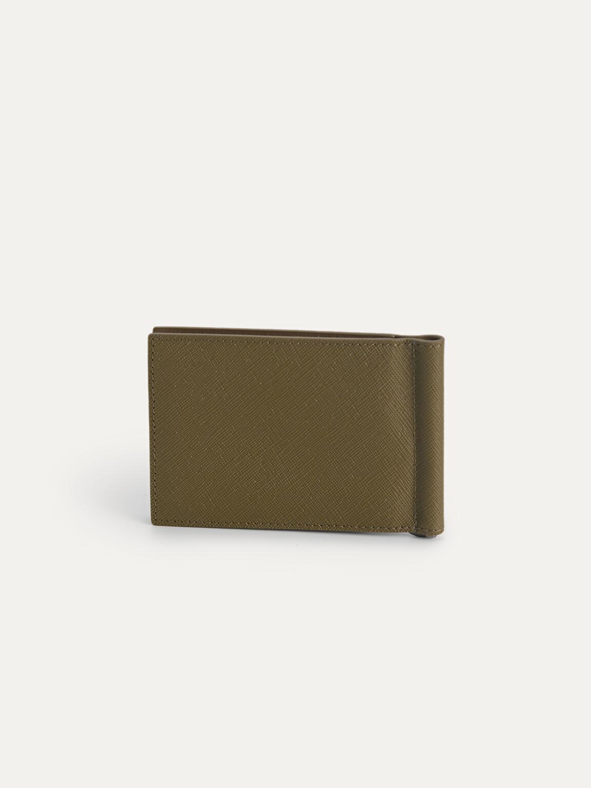 Textured Leather Bi-Fold Money Clip, Olive, hi-res