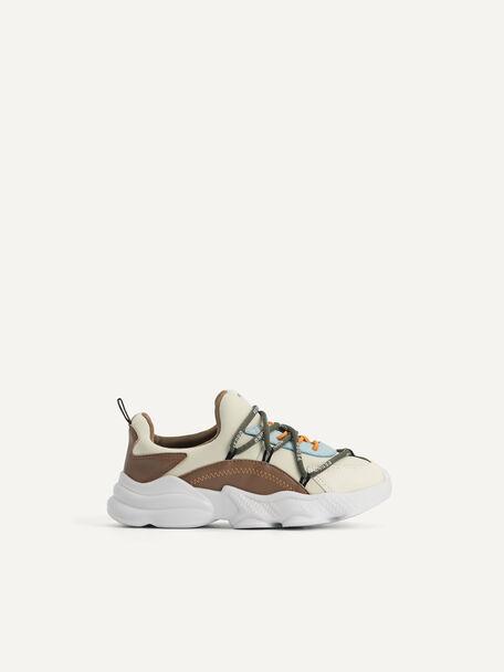 Colourblock Cord Sneakers, Beige, hi-res