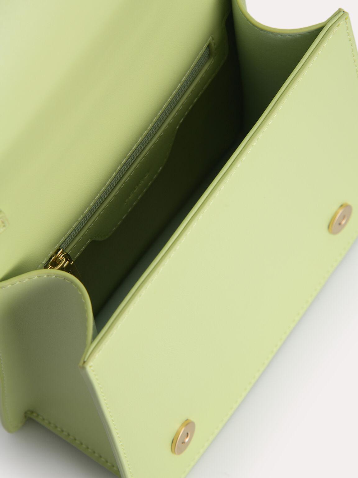 Top Handle Bag with Acrylic Handle, Light Green, hi-res