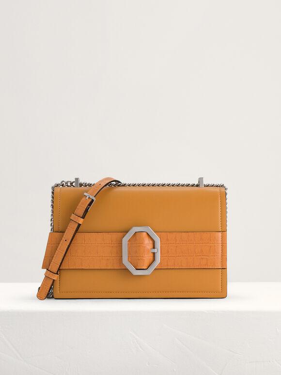 Croc-Effect Buckled Shoulder Bag, Mustard, hi-res