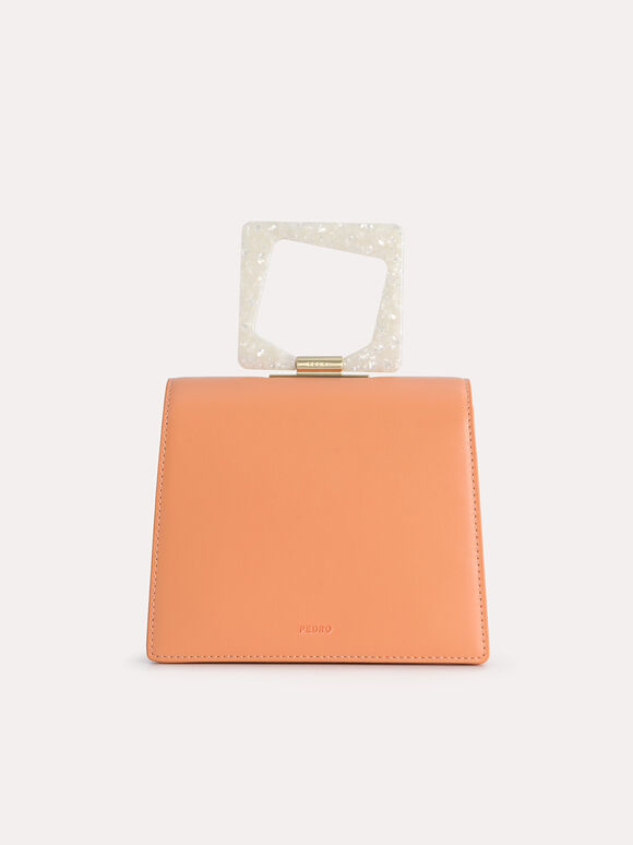 Top Handle Bag with Acrylic Handle, Orange, hi-res