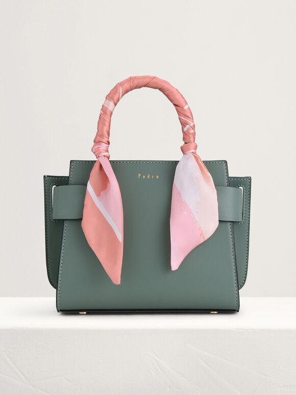 Twill-Trimmed Top Handle Bag, Green, hi-res