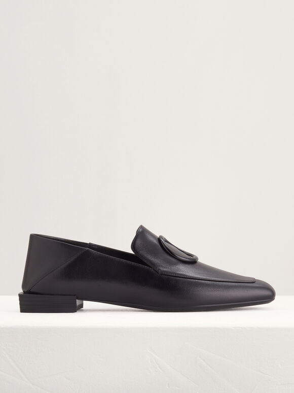 Ring Buckle Leather Loafers, Black, hi-res