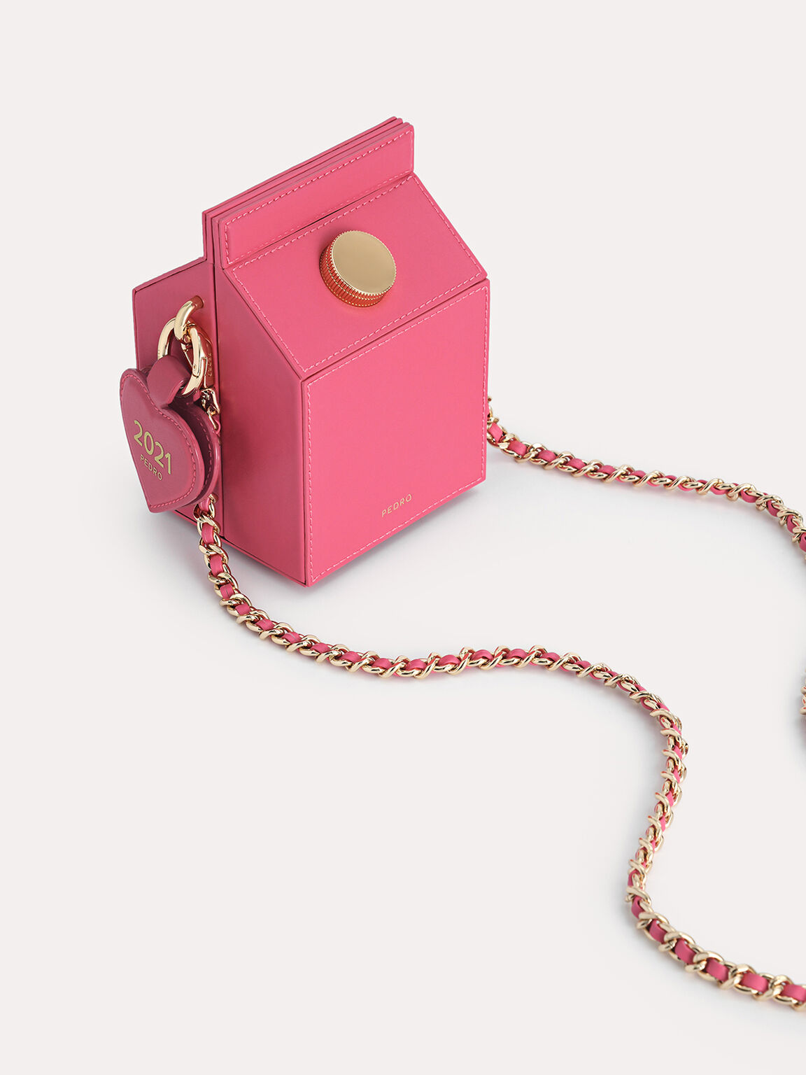 Leather Carton Bag, Rose, hi-res