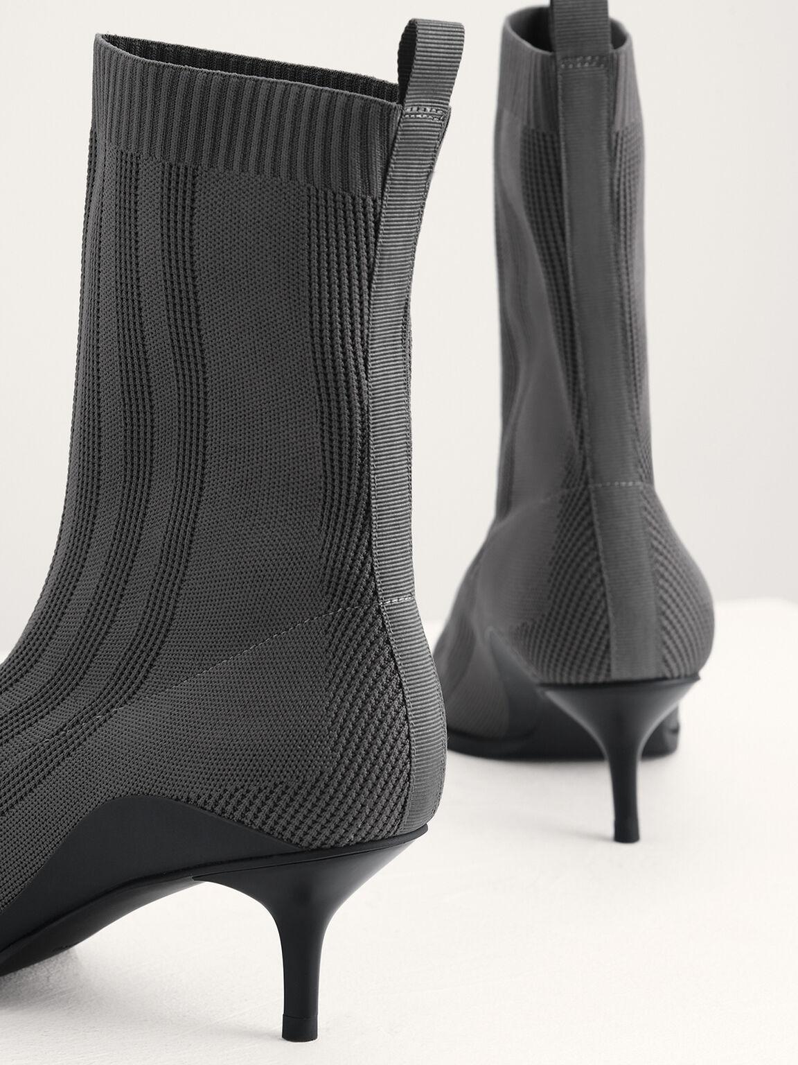 Knit Sock Boots, Dark Grey, hi-res