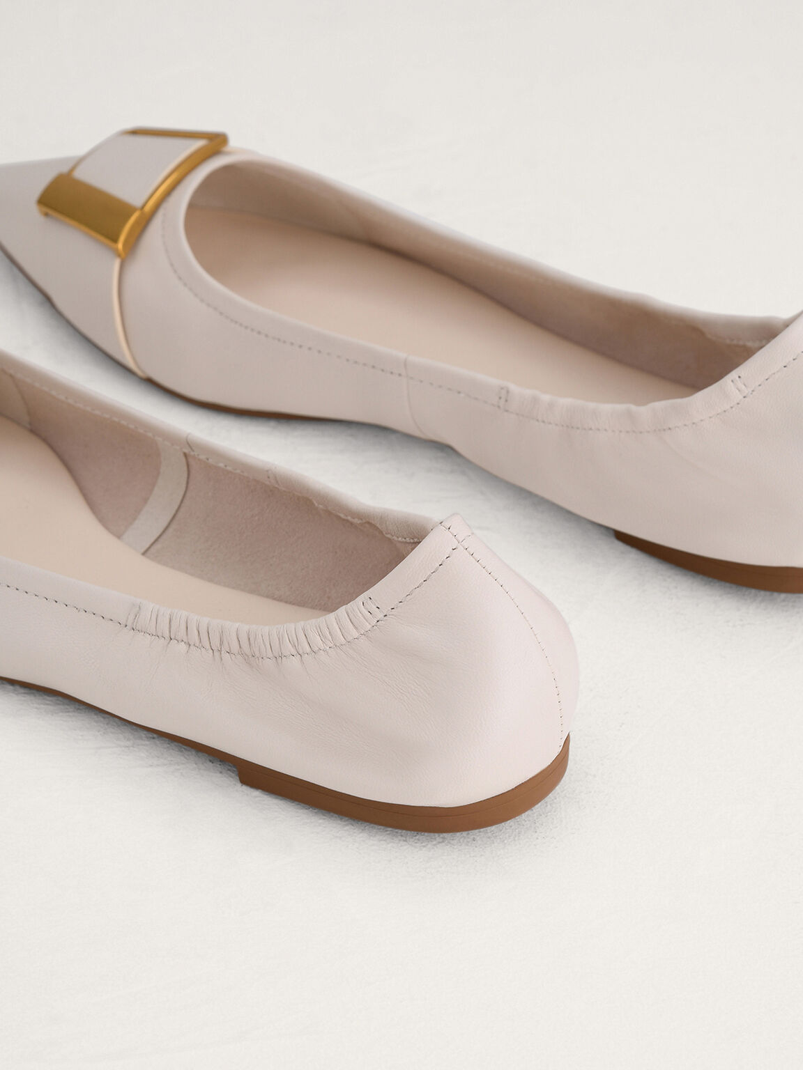 Gold Buckled Leather Flats, Chalk, hi-res