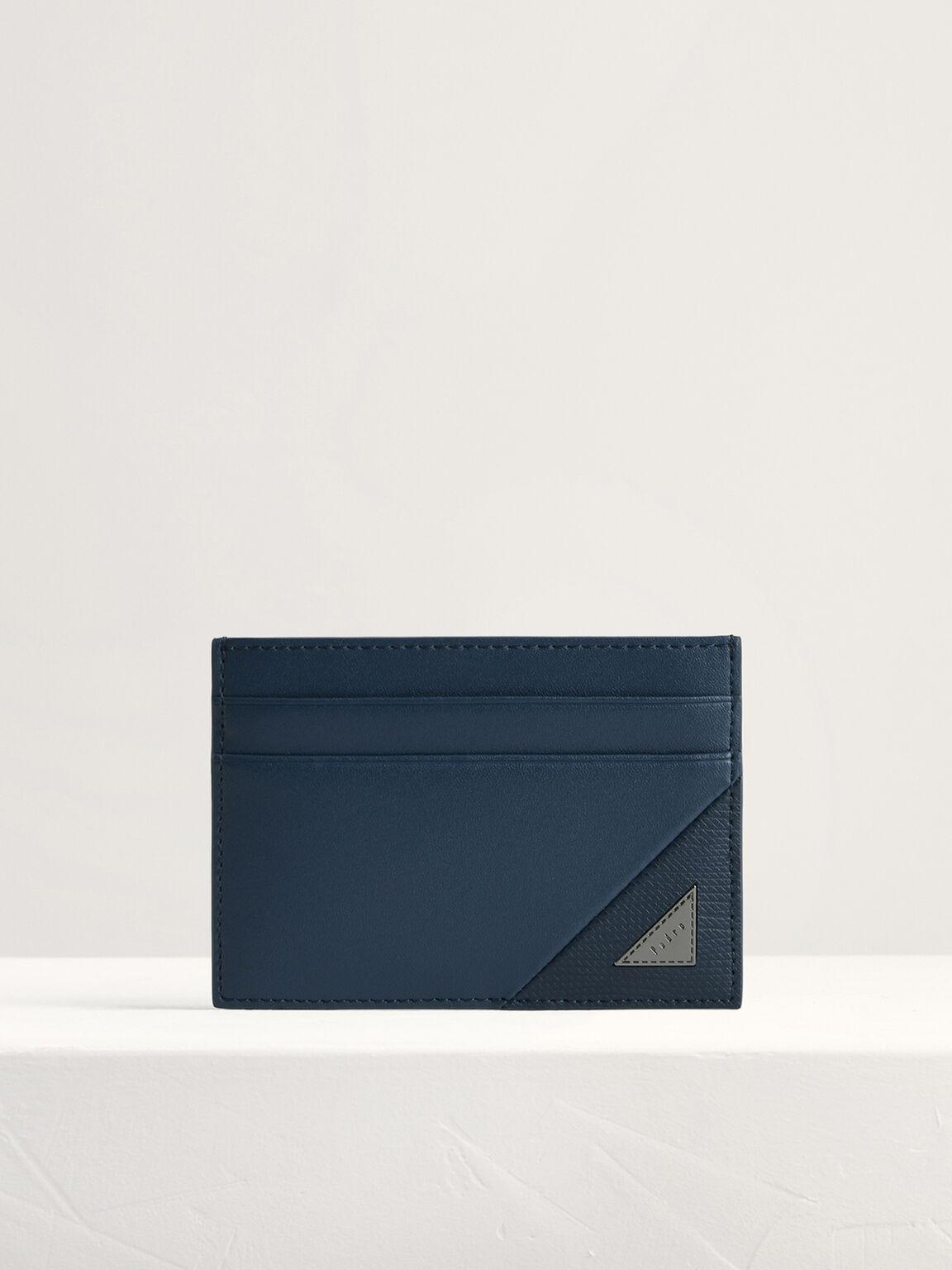Leather Card Holder, Navy, hi-res