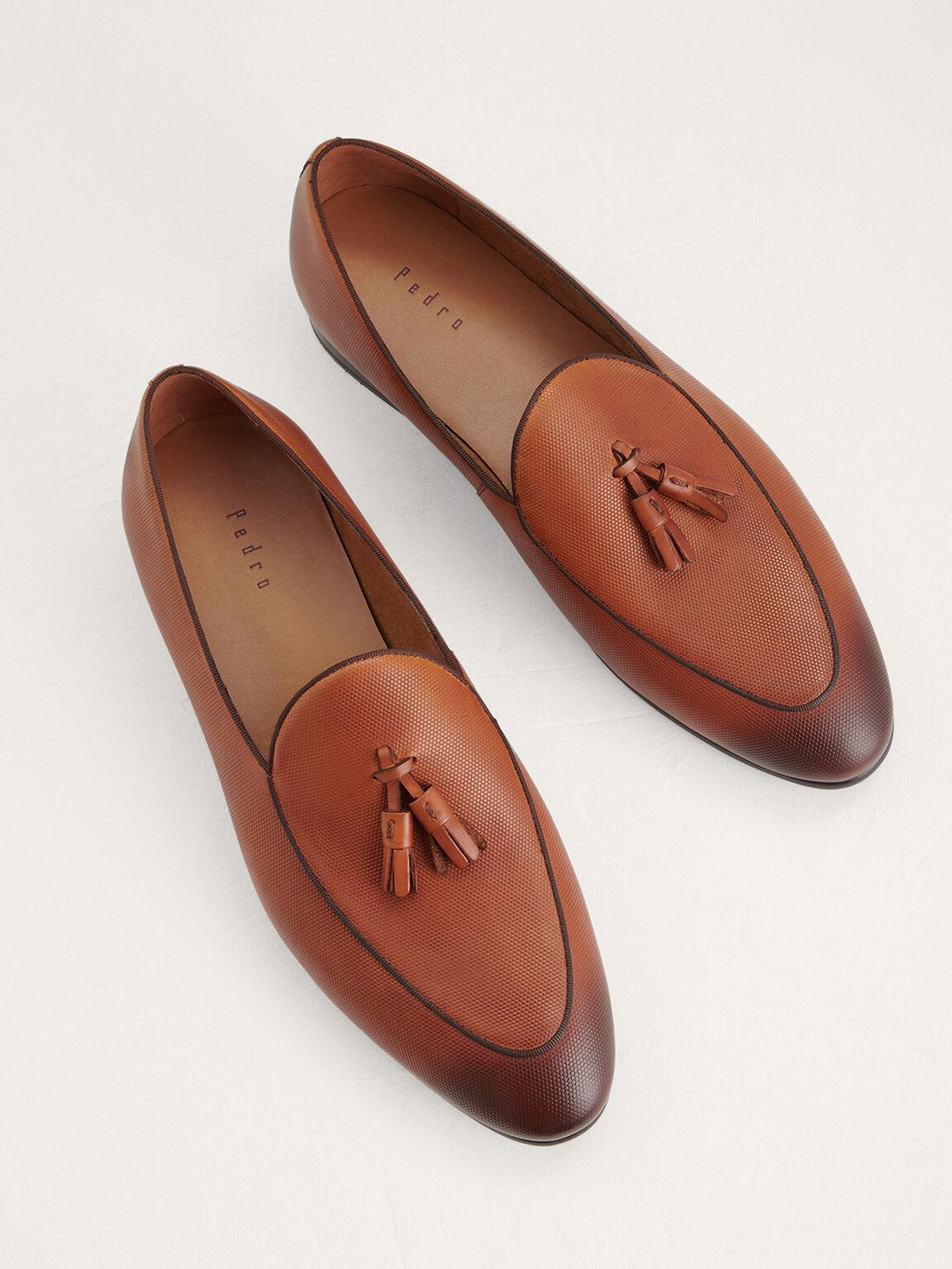 Leather Tasselled Loafers, Cognac, hi-res