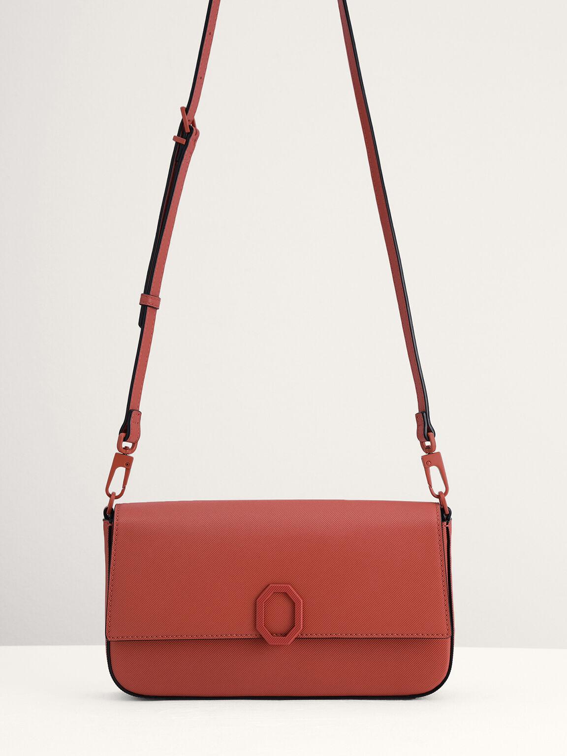 Leather Top Handle Bag, Brick, hi-res