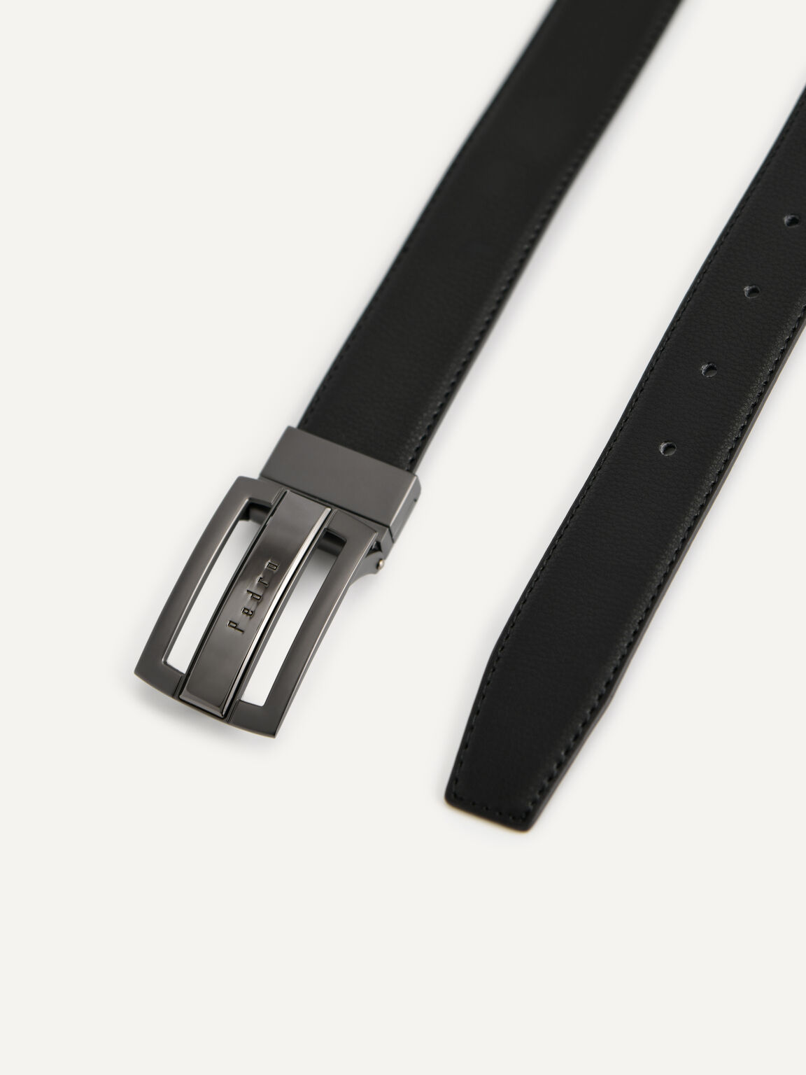 Textured Leather Reversible Tang Belt, Black, hi-res