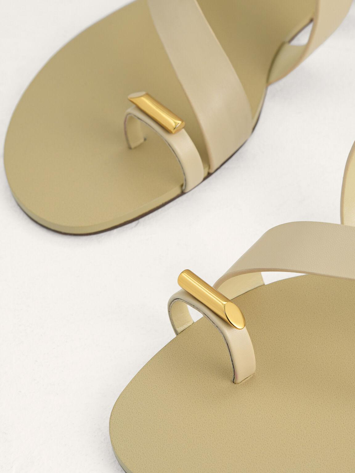Toe Loop Slingback Sandals, Beige, hi-res