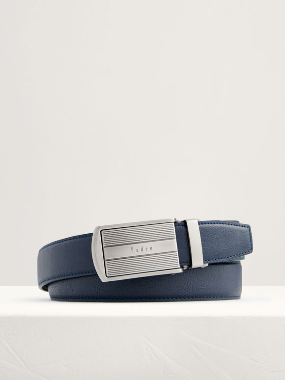 Leather Automatic Buckle Belt, Navy, hi-res