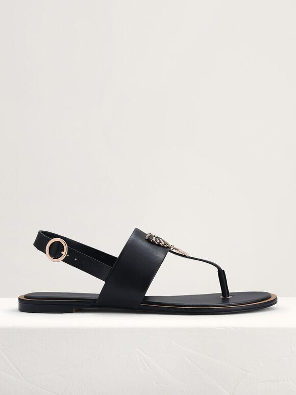 Fan Embellished Thong Sandals, Black, hi-res