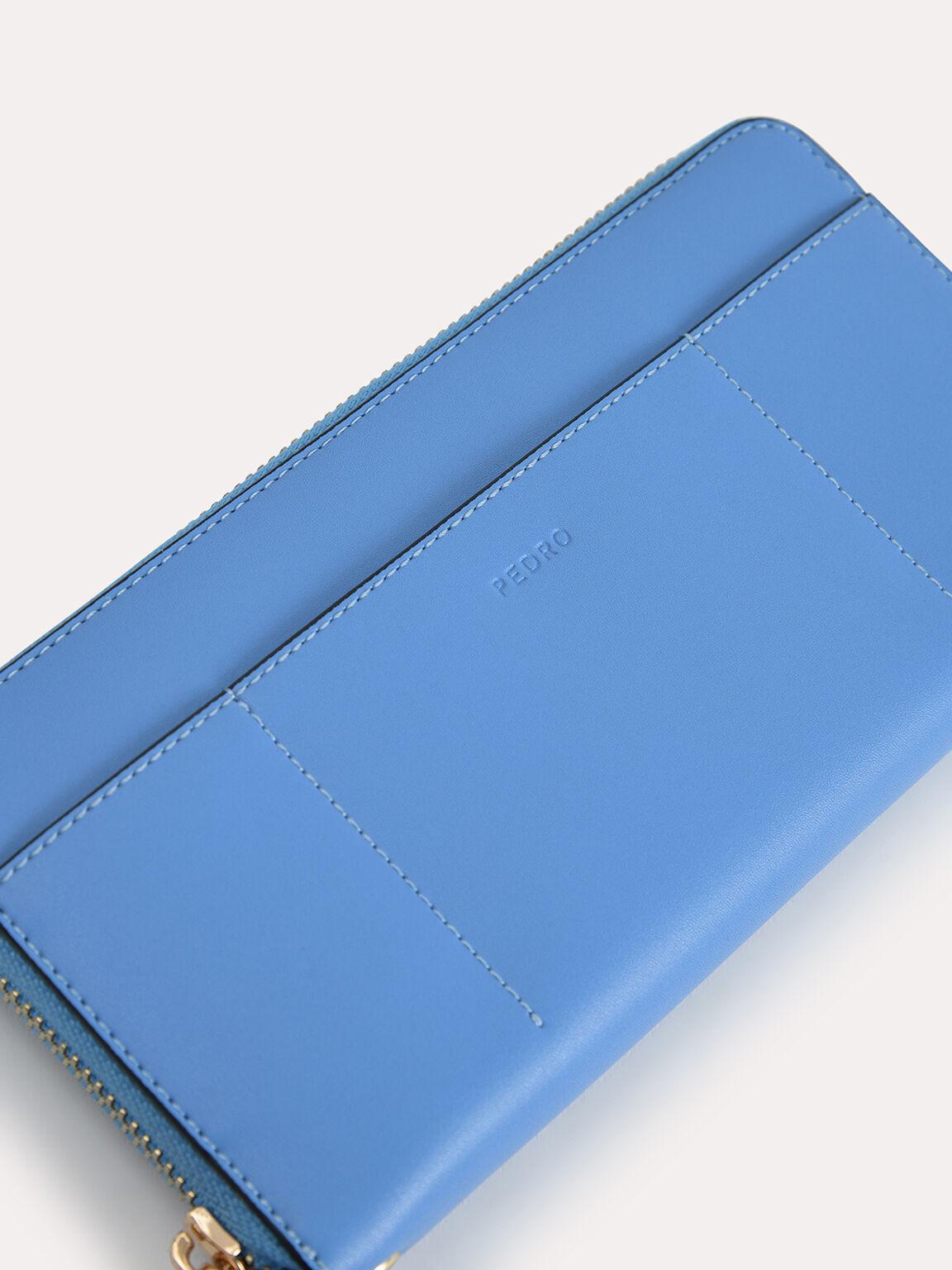 레더 지퍼 장지갑, 블루, hi-res