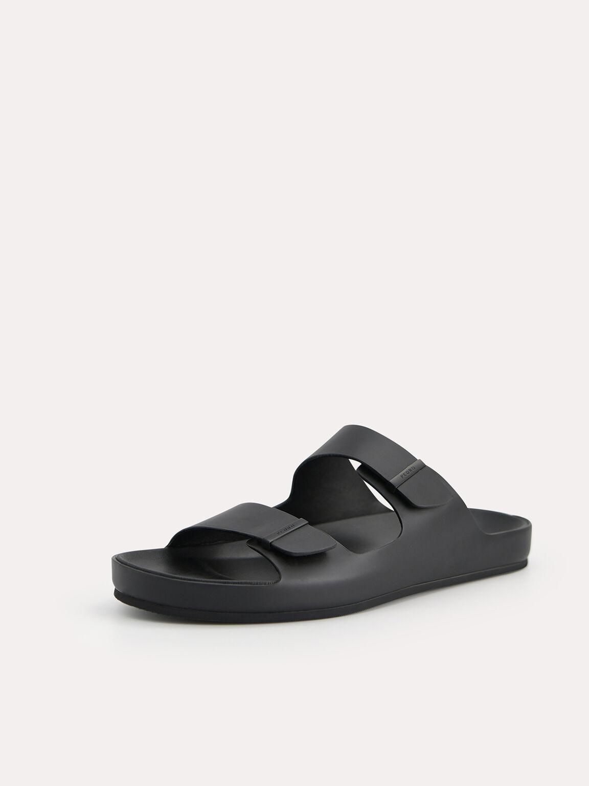 Double Strap Sandals, Black, hi-res