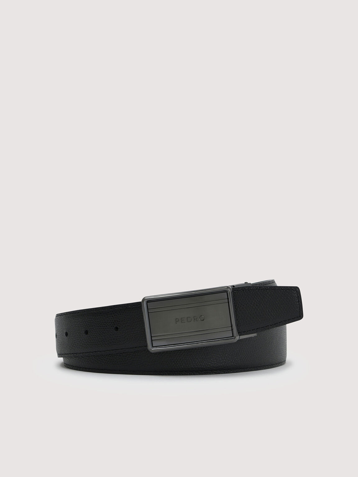 Reversible Tang Leather Belt, Black, hi-res