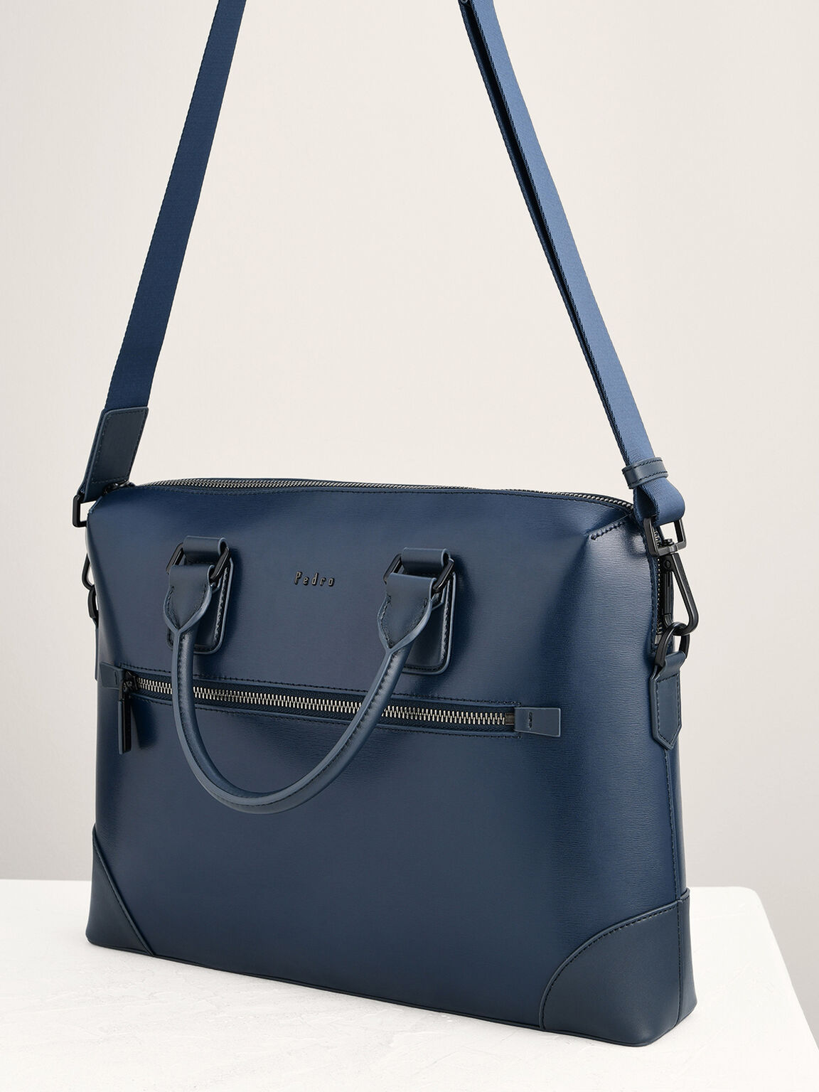 Leather Zipped Briefcase, Navy, hi-res