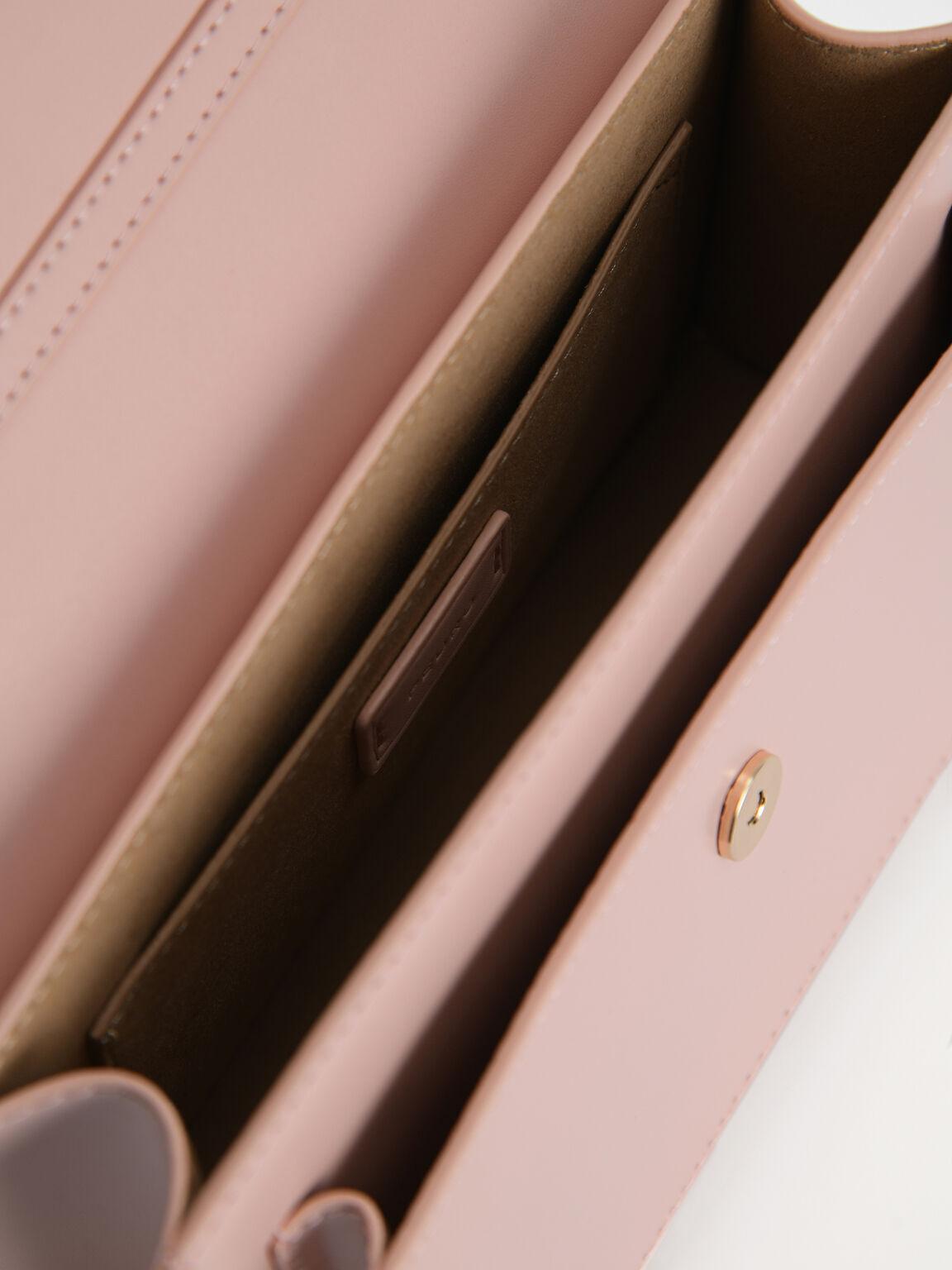 Boxy Leather Top Handle Bag, Light Pink, hi-res