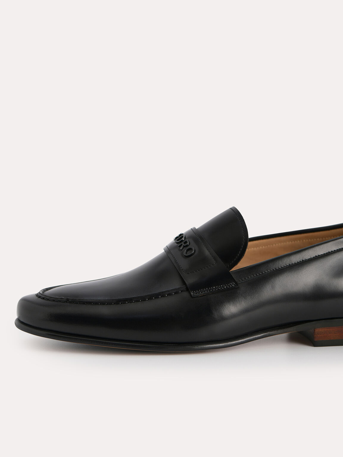 Burnished Leather Loafers, Black, hi-res