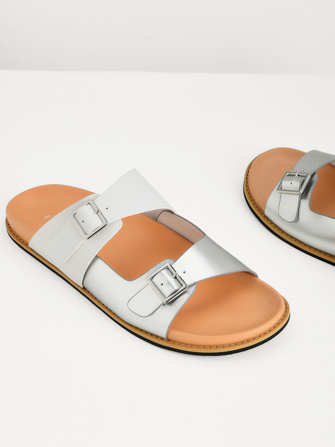 Two-Toned Sandals, Silver, hi-res