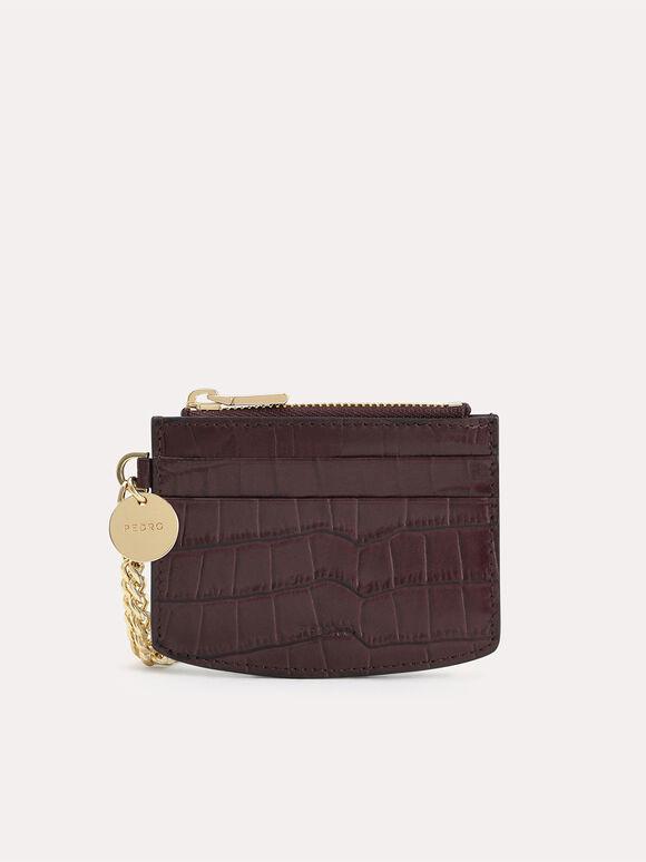 Textured Leather Cardholder, Dark Brown, hi-res