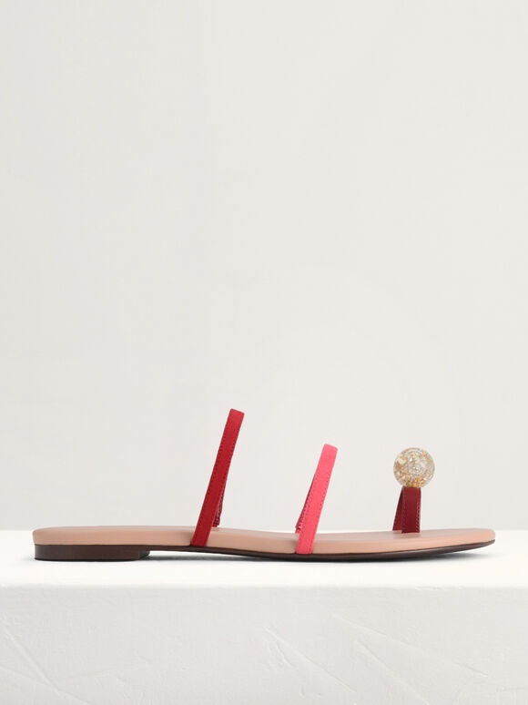 Embellished Toe-Ring Strappy Sandals, Red, hi-res
