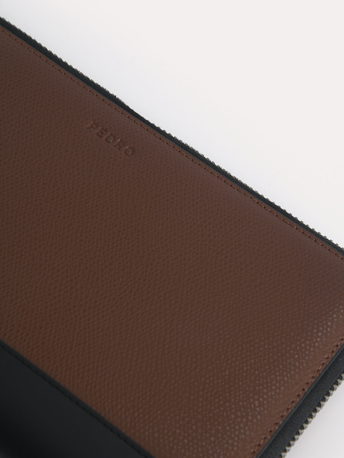 Textured Leather Travel Organiser, Brown, hi-res