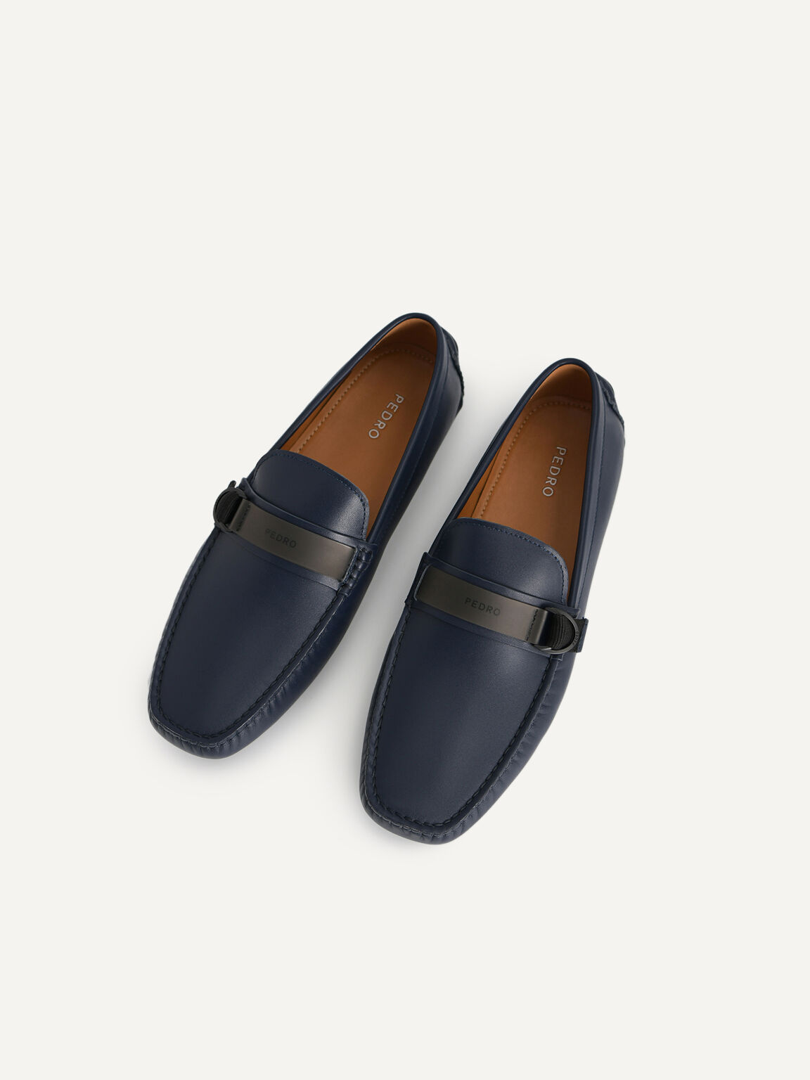 皮革莫卡辛鞋, 海军蓝色, hi-res