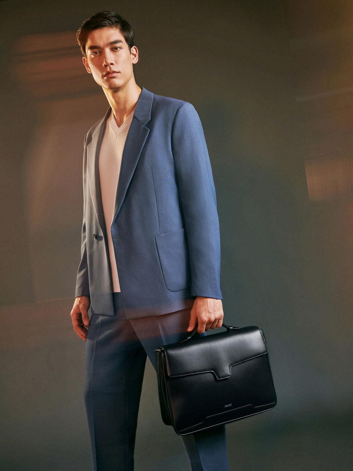 皮革公文包, 黑色, hi-res