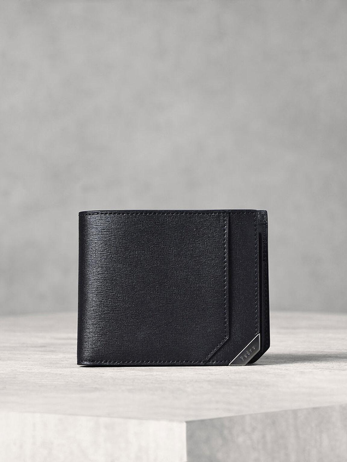 Metallic Tip Bifold Wallet, Black, hi-res