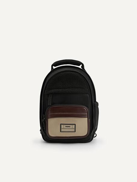 Two-Way Faux Fur Mini Backpack, Black, hi-res