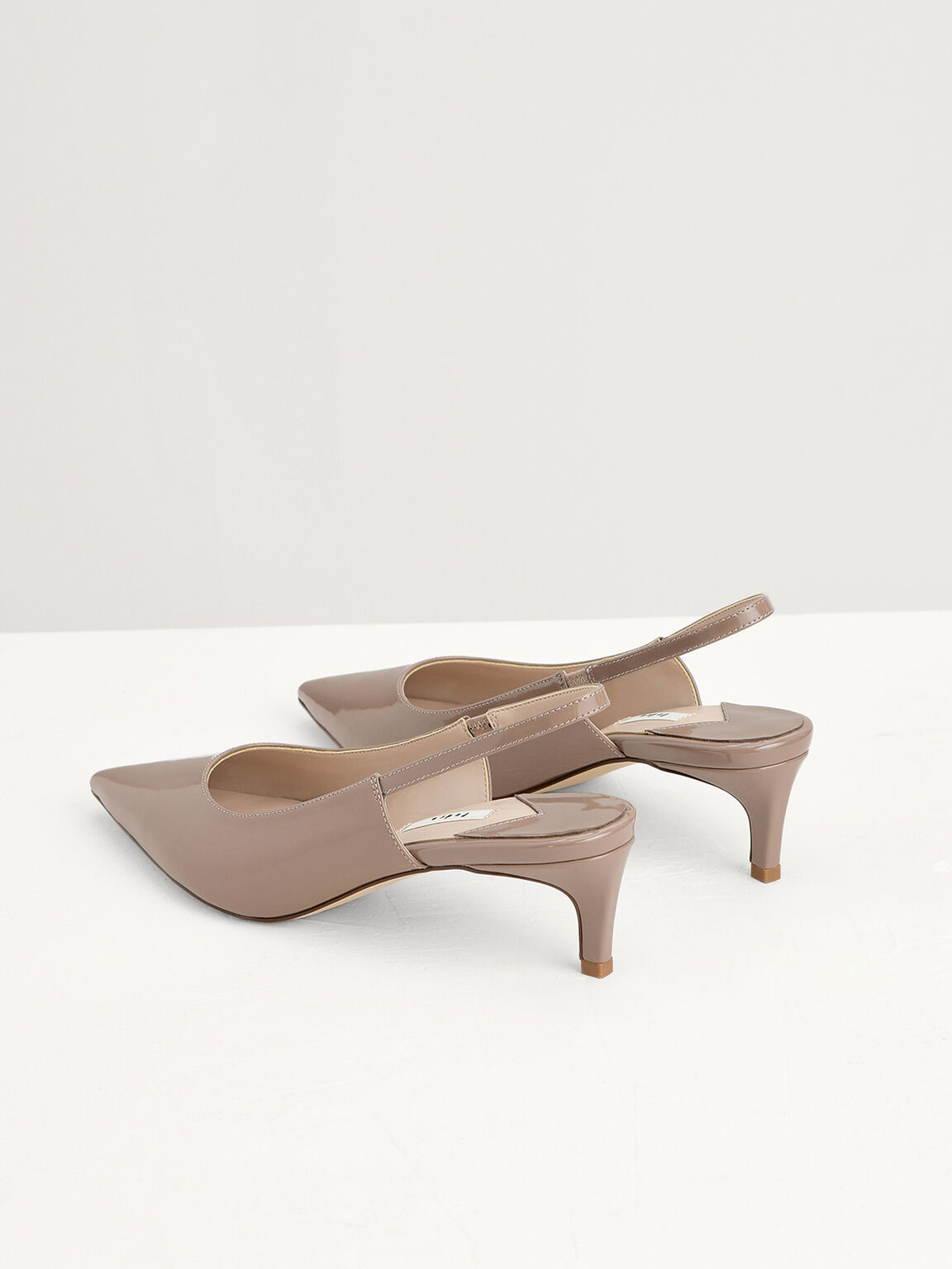 Patent Leather Slingback Pumps, Taupe, hi-res