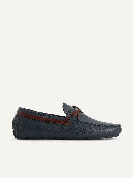 Textured Leather Moccasins with Bow, Navy, hi-res