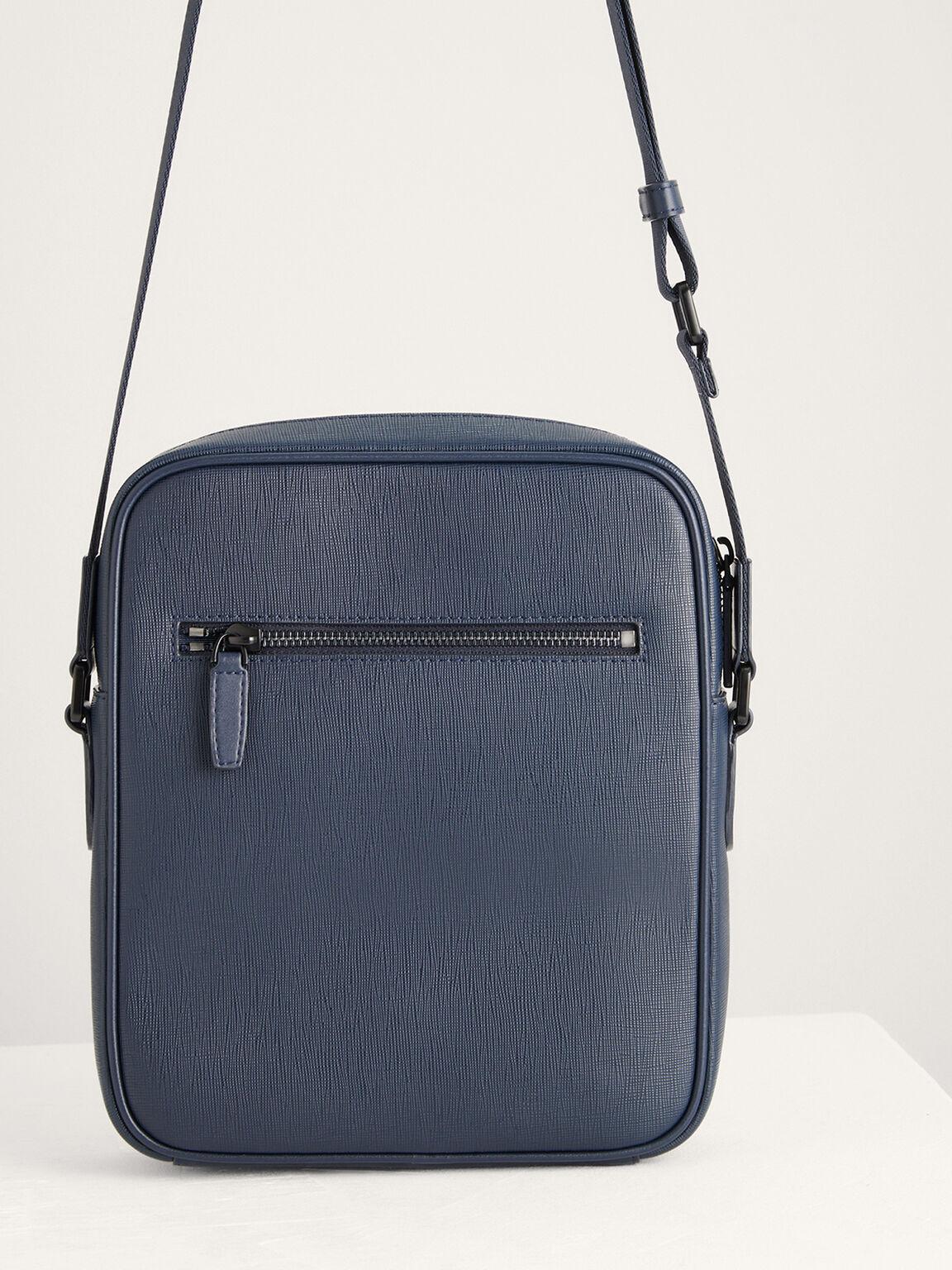 Buckled Leather Sling Bag, Navy, hi-res