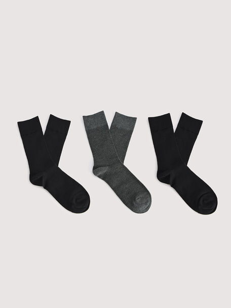 3-pack of Textured Cotton Socks, Multi, hi-res