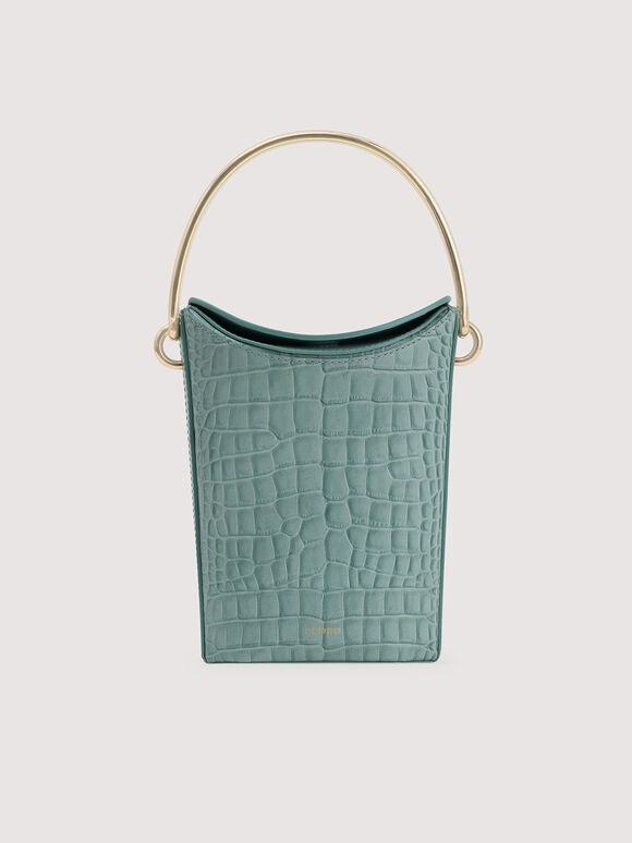 Embossed Leather Bucket Bag, Aqua, hi-res