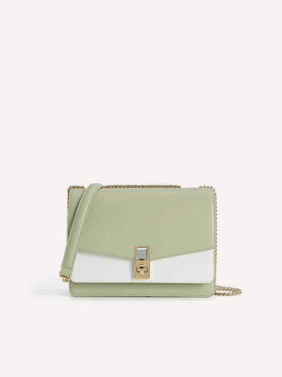 Duo-Toned Tiered Shoulder Bag, Multi2, hi-res