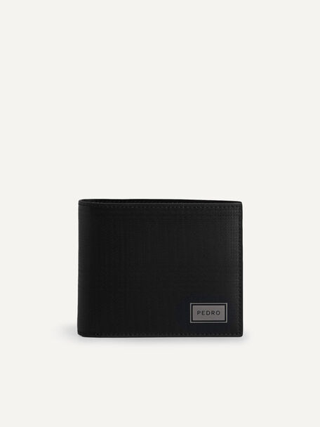 Leather Bi-Fold Wallet with Flip, Black, hi-res