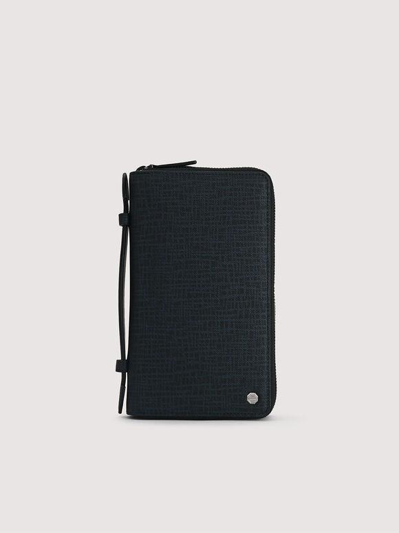 Leather Zip-Around Travel Organizer, Navy, hi-res
