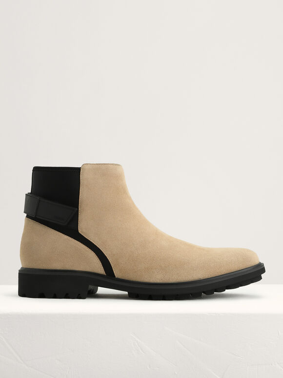 Burnished Calf Leather Ankle Boots, Sand, hi-res