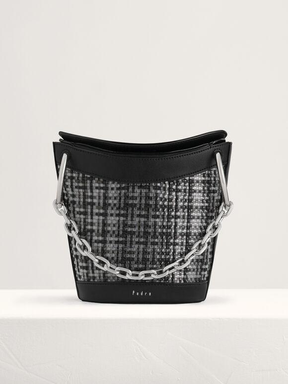 Woven Bucket Bag, Black, hi-res
